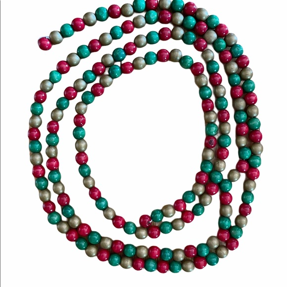 Retro Christmas wood beads garland red green gold